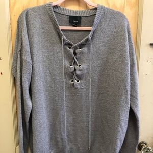 Large Grey Lumiere Lace-Up Sweater